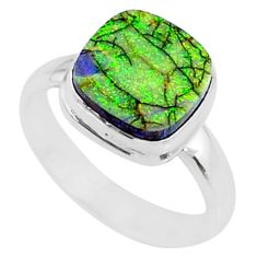 3.62cts multi color sterling opal 925 silver solitaire ring size 7.5 r70228