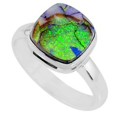 3.62cts multi color sterling opal 925 silver solitaire ring size 8.5 r70232