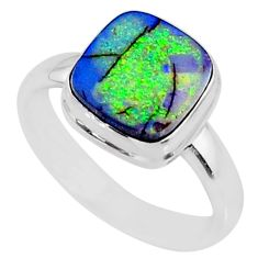 3.83cts multi color sterling opal 925 silver solitaire ring size 8.5 r70236