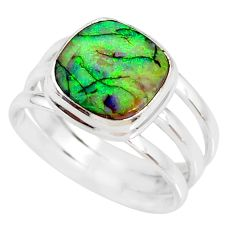 4.52cts multi color sterling opal 925 silver solitaire ring size 7.5 r76914