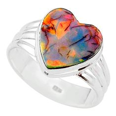 4.03cts multi color sterling opal 925 silver solitaire ring size 10 t13638