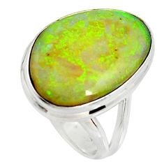 12.10cts multi color sterling opal 925 silver solitaire ring size 7 r25142