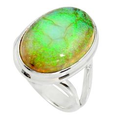 10.24cts multi color sterling opal 925 silver solitaire ring size 7 r25143