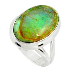10.84cts multi color sterling opal 925 silver solitaire ring size 7 r25146