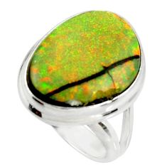 12.52cts multi color sterling opal 925 silver solitaire ring size 7 r25148