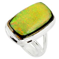 12.03cts multi color sterling opal 925 silver solitaire ring size 7 r25151