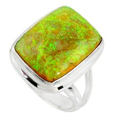 12.03cts multi color sterling opal 925 silver solitaire ring size 7 r25156