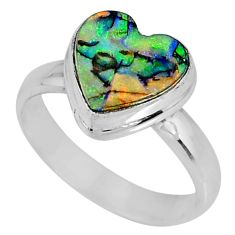 3.83cts multi color sterling opal 925 silver solitaire ring size 7 r62152