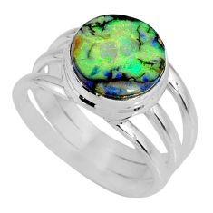 3.58cts multi color sterling opal 925 silver solitaire ring size 7 r62198