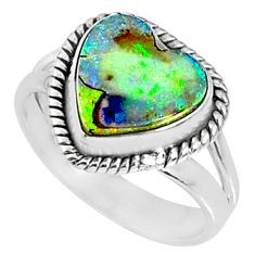 3.47cts multi color sterling opal 925 silver solitaire ring size 7 r70205