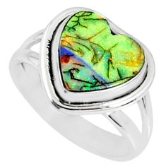 3.50cts multi color sterling opal 925 silver solitaire ring size 7 r70207