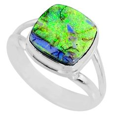 3.47cts multi color sterling opal 925 silver solitaire ring size 7 r70213