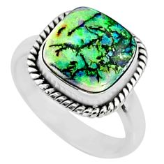 4.00cts multi color sterling opal 925 silver solitaire ring size 7 r70214