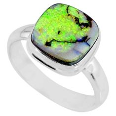 3.48cts multi color sterling opal 925 silver solitaire ring size 7 r70219