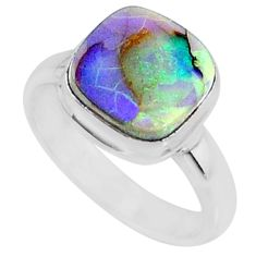 3.50cts multi color sterling opal 925 silver solitaire ring size 7 r70230