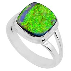 3.26cts multi color sterling opal 925 silver solitaire ring size 7 r70234