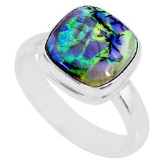 3.48cts multi color sterling opal 925 silver solitaire ring size 7 r70237