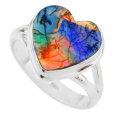 3.73cts multi color sterling opal 925 silver solitaire ring size 7 t13625