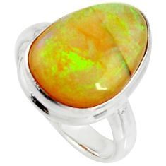 10.78cts multi color sterling opal 925 silver solitaire ring size 8 r25153