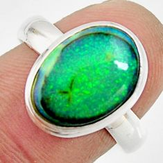 5.63cts multi color sterling opal 925 silver solitaire ring size 8 r25171