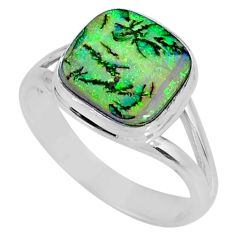 4.03cts multi color sterling opal 925 silver solitaire ring size 8 r62156