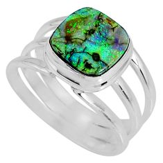 3.75cts multi color sterling opal 925 silver solitaire ring size 8 r62161