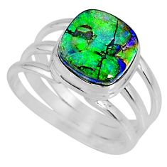 4.17cts multi color sterling opal 925 silver solitaire ring size 8 r62175