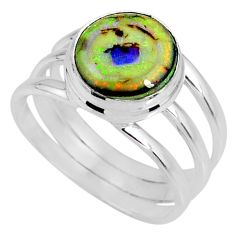 3.70cts multi color sterling opal 925 silver solitaire ring size 8 r62178