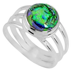 3.70cts multi color sterling opal 925 silver solitaire ring size 8 r62180