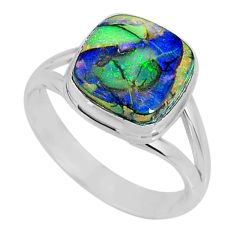 3.93cts multi color sterling opal 925 silver solitaire ring size 8 r62191