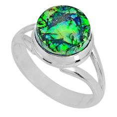 3.63cts multi color sterling opal 925 silver solitaire ring size 8 r62197