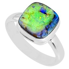 3.62cts multi color sterling opal 925 silver solitaire ring size 8 r70208