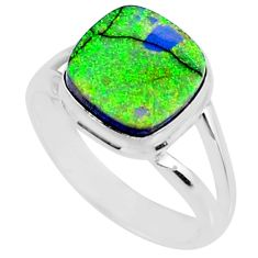 3.83cts multi color sterling opal 925 silver solitaire ring size 8 r70231