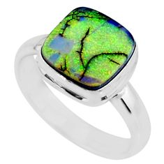 3.61cts multi color sterling opal 925 silver solitaire ring size 8 r70233
