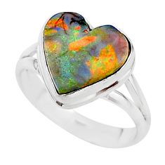 3.67cts multi color sterling opal 925 silver solitaire ring size 8 t13653