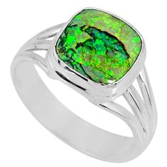 3.83cts multi color sterling opal 925 silver solitaire ring size 9 r62167