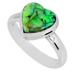 3.66cts multi color sterling opal 925 silver solitaire ring size 9 r62188