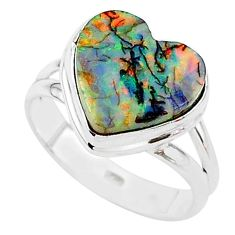 3.73cts multi color sterling opal 925 silver solitaire ring size 7.5 t13631