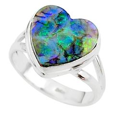 3.51cts multi color sterling opal 925 silver solitaire ring size 6.5 t13633