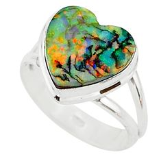 3.29cts multi color sterling opal 925 silver solitaire ring size 7.5 t13635