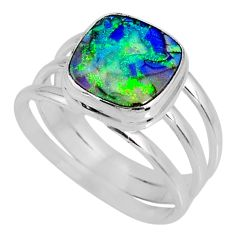 3.72cts multi color sterling opal cushion silver solitaire ring size 8.5 r62164
