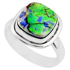 3.83cts multi color sterling opal cushion silver solitaire ring size 7 r70215