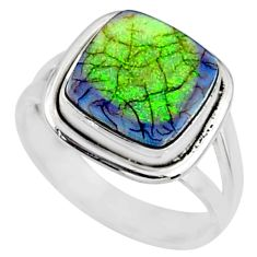 4.03cts multi color sterling opal cushion silver solitaire ring size 7 r70240