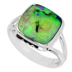 4.28cts multi color sterling opal cushion silver solitaire ring size 8 r58866
