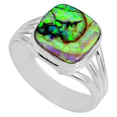 4.06cts multi color sterling opal cushion silver solitaire ring size 8 r62172