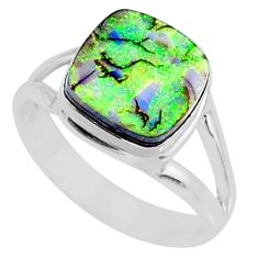 3.62cts multi color sterling opal cushion silver solitaire ring size 8 r70211