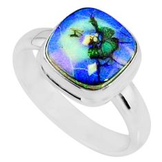 3.61cts multi color sterling opal cushion silver solitaire ring size 8 r70235