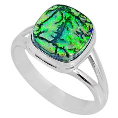 4.47cts multi color sterling opal cushion silver solitaire ring size 9 r62148