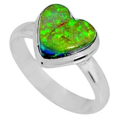 3.87cts multi color sterling opal heart 925 silver solitaire ring size 8 r62143