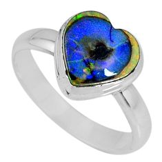 3.80cts multi color sterling opal heart 925 silver solitaire ring size 9 r62142